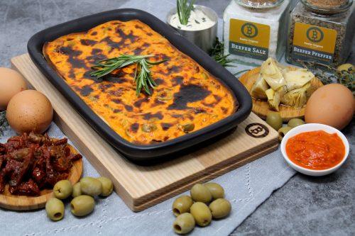 """Quiche """"Mediterran"""" mit getrockneten Tomaten, Artischocke und Olive"""